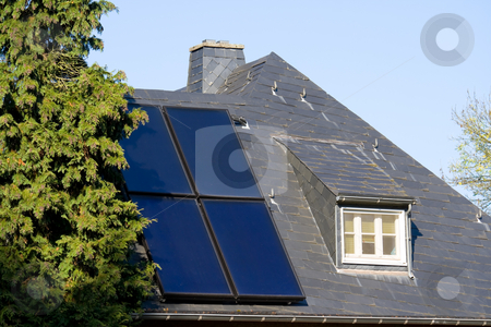 House with solar panels stock photo, House with solar (photovoltaic) panels by Interlight