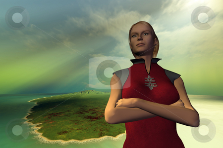 TAKE  COMMAND stock photo, A strong woman takes charge and is a leader. by Corey Ford