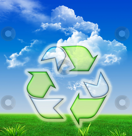 Recycle Symbol Wallpaper stock photo, Green recycling symbol isolated on landscape background by Stefano SENISE