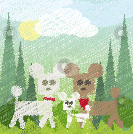 Three poodles stock vector clipart, Three poodles taking a walk in the park by Karin Claus