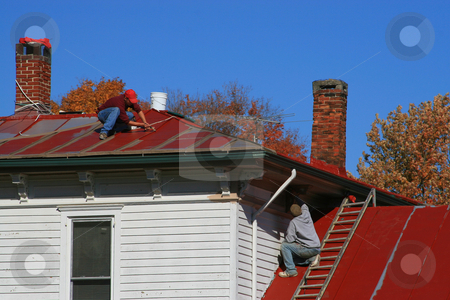 Roofers stock photo, Painting a tin roof on an old house by Jack Schiffer