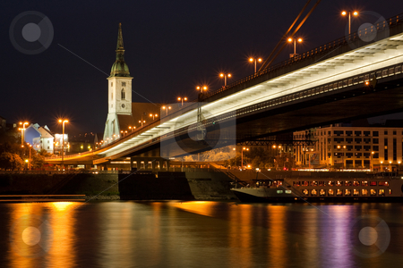 Bratislava at night stock photo, Bratislava, capital of slavakia, st michael church and new bridge by Jan Turcan