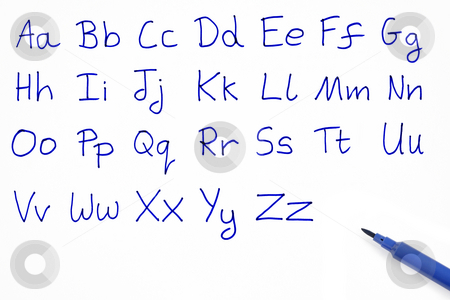 The alphabet written on white paper with a blue felt tip pen. stock photo, The alphabet written on white paper with a blue felt tip pen. by Stephen Rees
