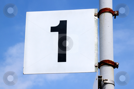 Number one sign on a British railway platform. stock photo, Number one sign on a British railway platform. by Stephen Rees
