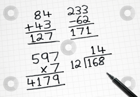 Writing simple maths sums on square paper. stock photo, Writing simple maths sums on square paper. by Stephen Rees
