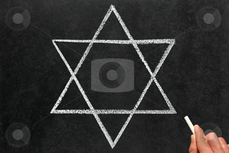 Drawing the Star of David Judaism religious symbol on a blackboard. stock photo, Drawing the Star of David Judaism religious symbol on a blackboard. by Stephen Rees