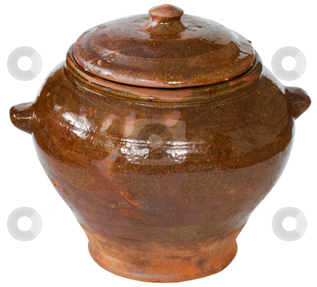 Brown ceramic pot stock photo, Brown ceramic pot on the white background by Alexey Romanov