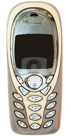 Old cellular telephone stock photo, The old worn out cellular telephone on a white background by Alexey Romanov
