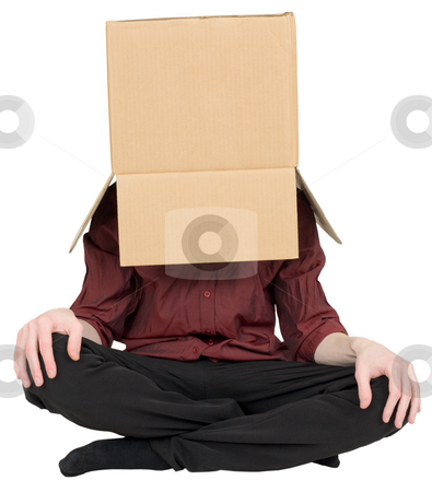 Man with a box on a head stock photo, Man with a carton box on a head by Alexey Romanov