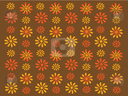 Gold and orange retro flowers on a brown background stock vector clipart, Vector illustration of gold and orange flowers on brown background by Rachel Gordon