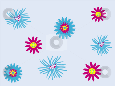 Funky blue and pink flowers on pale blue background stock vector clipart, Vector illustration of  funky blue and pink flowers on a pale blue background by Rachel Gordon