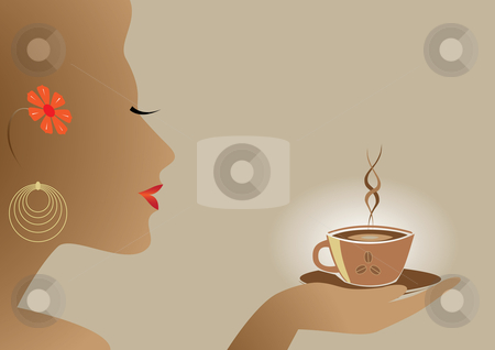 Woman and coffee stock vector clipart,  by Aleksandr Korablin