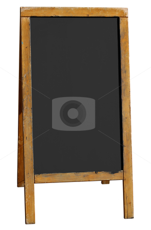 Empty old wooden pub menu board isolated on white. stock photo, Empty old wooden pub menu board isolated on white. by Stephen Rees