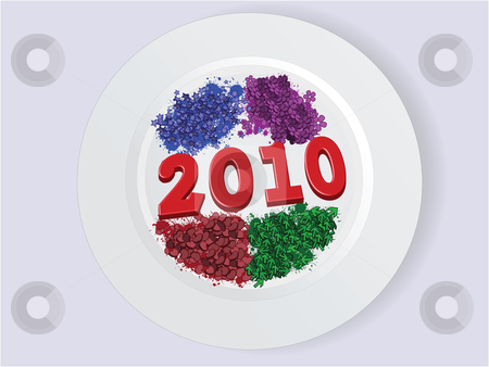 Plate 2010 stock vector clipart, Year 2010 on plate with stars, flowers, hearts,arrows by Ivan Gajic