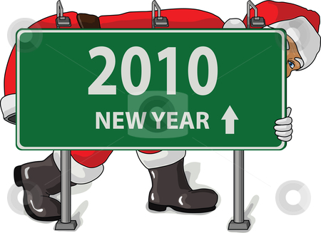 Hiding santa 2010 stock vector clipart, Santa hiding behind sign year 2010 by Ivan Gajic