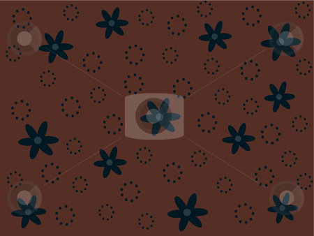 Blue retro flowers and dotted circles on brown background stock vector clipart, Vector illustration of blue retro flowers and dotted circles on a brown background by Rachel Gordon