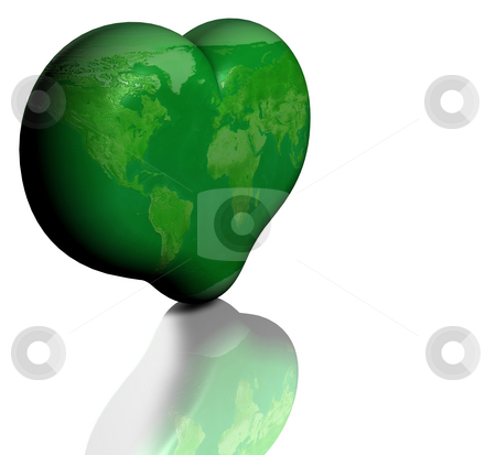 Green Planet Earth stock photo, Royalty Free Stock Image of a Green Heart Shaped Earth Isolated on White in a conceptual manner suggestin a love for the well being of our planet. Supplied with Clipping path. by Paul Inkles