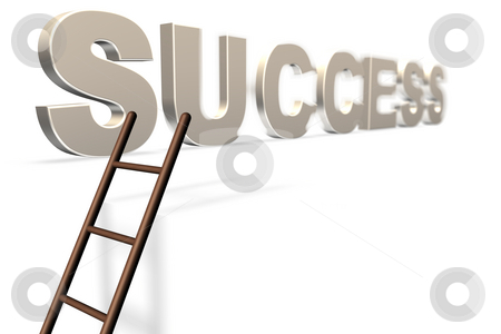 The Ladder to Success Gold stock photo, Royalty free stock image of 3D Illustration of the word Success Isolated on white with a ladder leading to it with a shallow depth of field, in a conceptual manner providing copyspace below by Paul Inkles