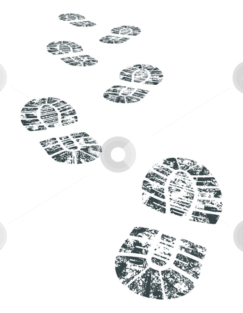 Vector bootprint stock vector clipart, Detailed black and white bootprint - vector illustration by ojal_2