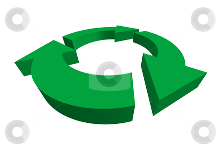 Isolated 3D green recycle symbol stock vector clipart, Isolated 3D green recycle symbol - vector illustration by ojal_2
