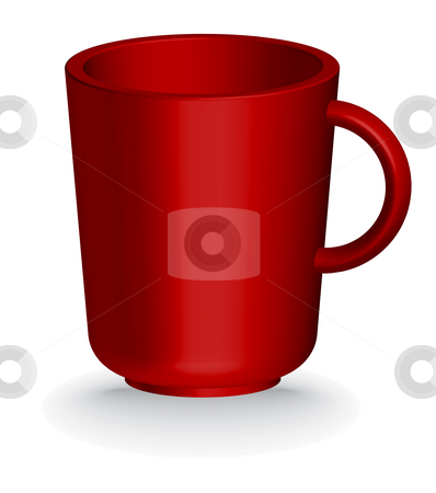 Red coffe or tea cup stock vector clipart, Red coffe or tea cup - vector illustration by ojal_2