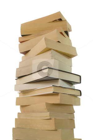Books isolated on white stock photo, Pile of books isolated on white background by ojal_2