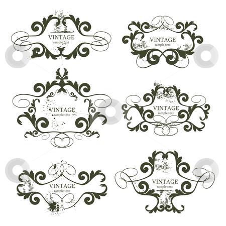 Vintage frames stock vector clipart, Curly grunge vintage frames - vector illustration by ojal_2
