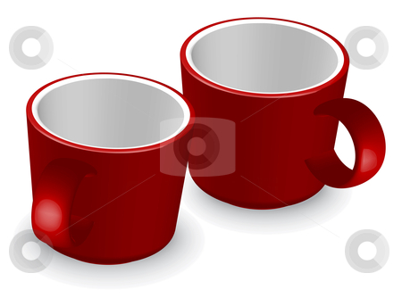 Two red coffee cups stock vector clipart, Two red coffee cups - vector illustration by ojal_2