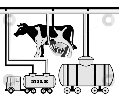 Manufacture of milk stock vector clipart, Schematic figure of a modern dairy farm of large horned livestock by citcarsten