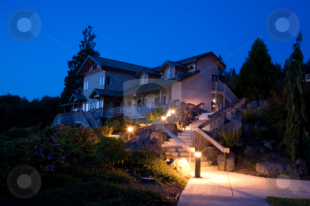 Night Landscaping and Architecture stock photo, Night landscaping and architecture in the Pacific Northwest by Travis Manley