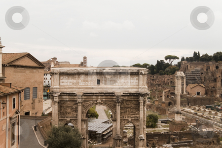 Arcus Sever Gate stock photo, The Roman Forum at the heart of Rome (Roma) Italy by Kevin Tietz