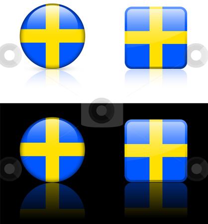 World Flags: Sweden stock vector clipart, Original vector World Flags buttons by L Belomlinsky
