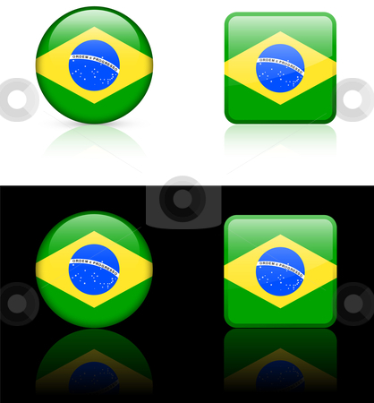 World Flags: Brazil stock vector clipart, Original vector World Flags buttons by L Belomlinsky