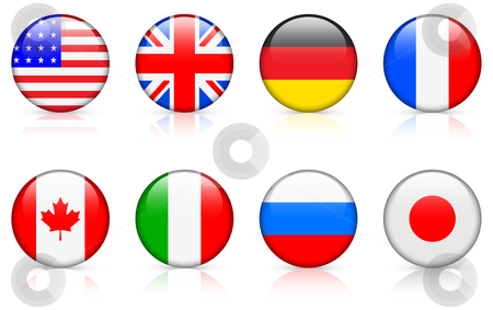 World Flags: G8 member country flags stock vector clipart, World Flags: G8 member country flags  Original vector buttons on white background by L Belomlinsky