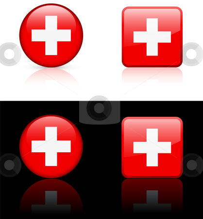 World Flags: Switzerland stock vector clipart, Original vector World Flags buttons by L Belomlinsky