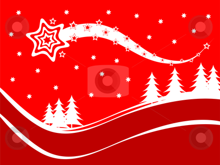A red Christmas background vector illustration stock vector clipart, A red Christmas background vector illustration with a shooting star above a snow covered hillside with white christmas trees by Mike Price