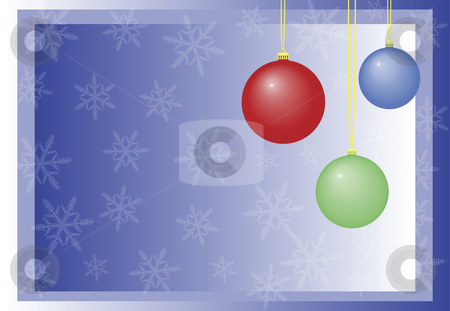Baubles Illustration stock vector clipart, Baubles illustration with snow flakes on blue background by John Teeter
