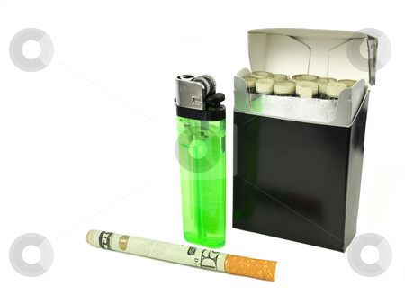 Money Cigarette stock photo, Concept of Sin Tax of Expense of Cigarettes by John Teeter