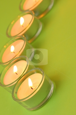 Five tea lights, green stock photo, Five tea lights on green background by Arnold Barna