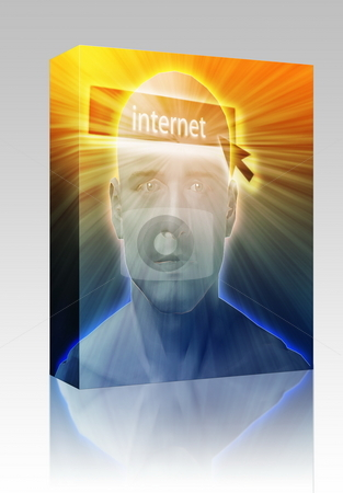 Thinking about internet box package stock photo, Software package box Man thinking about internet clicking,floating over head by Kheng Guan Toh