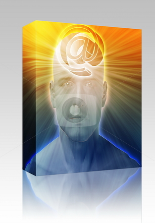 Thinking about internet box package stock photo, Software package box Man thinking about at internet symbol, floating on her head by Kheng Guan Toh