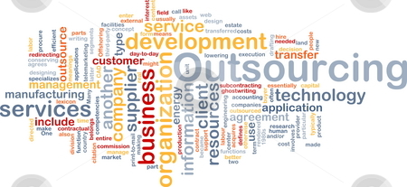Outsourcing  word cloud stock photo, Word cloud concept illustration of business outsourcing by Kheng Guan Toh