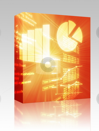 Spreadsheet business charts illustration box package stock photo, Software package box Illustration of Spreadsheet data and business charts in glowing wireframe style by Kheng Guan Toh
