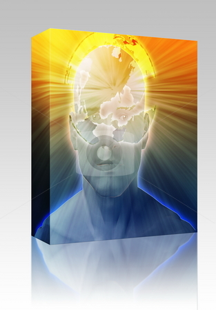 Thinking about world box package stock photo, Software package box Man thinking about global international issues, floating over head by Kheng Guan Toh