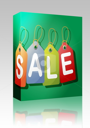 Sale label box package stock photo, Software package box Set of price tags spelling out SALE by Kheng Guan Toh