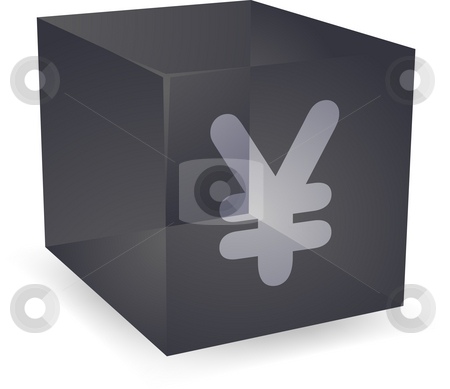 Yen cube icon stock photo, Japanese yen icon on translucent cube shape illustration by Kheng Guan Toh