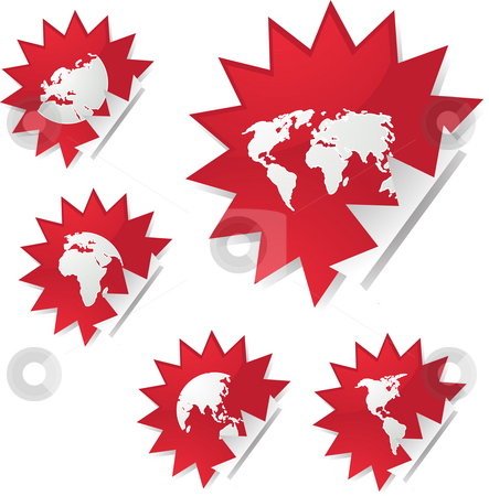 World map stickers stock photo, World map icons on spiky sticker shapes by Kheng Guan Toh