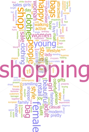 Shopping word cloud stock photo, Word cloud concept illustration of consumer shopping by Kheng Guan Toh
