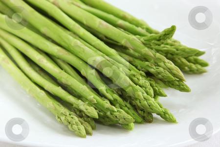 Fresh asparagus stock photo, Fresh whole asparagus spears arranged in a row by Kheng Guan Toh