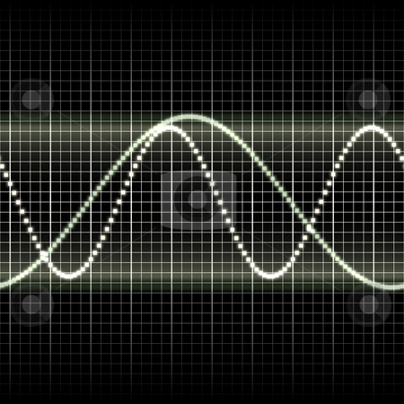 Waves measuring display stock photo, Abstract generic science audio waves measurement display illustration by Kheng Guan Toh